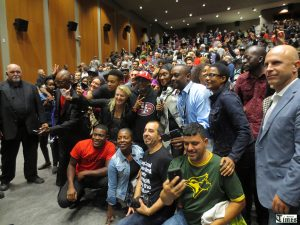 Spike Lee takes a  massive group photo with many of audience members who were in attendance at the screening of his Michael Jackson documentary on Oct. 1.