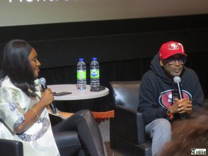 Spike Lee (right) with Montreal International Black Film Festival founder and president Fabienne Colas.