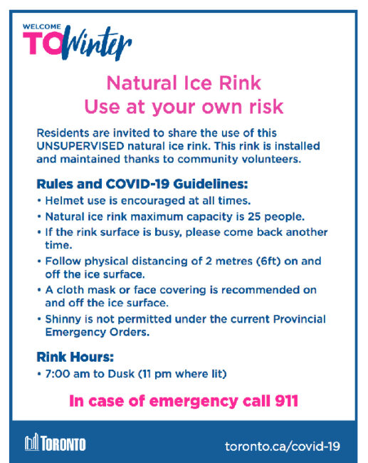 Toronto outdoor rink safety