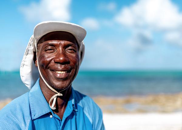 Bahamian resident on the beach