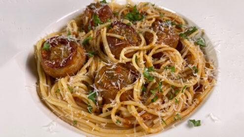 Chef Schulz's Spaghetti a la Marinara with Bacon Wrapped Meatballs